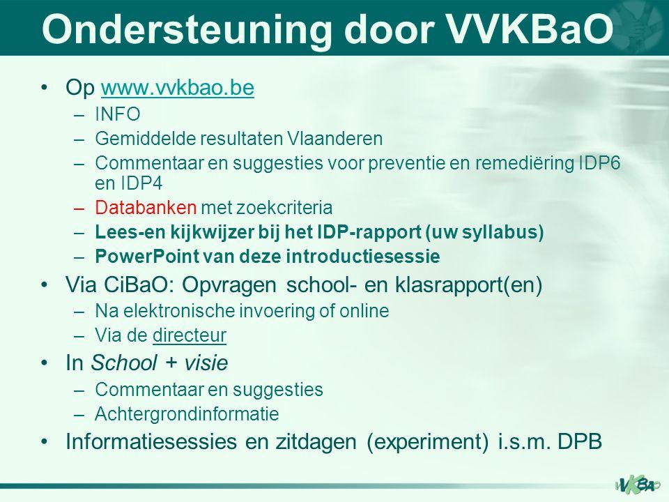 Ondersteuning door VVKBaO Op www.vvkbao.bewww.vvkbao.be –INFO –Gemiddelde resultaten Vlaanderen –Commentaar en suggesties voor preventie en remediërin