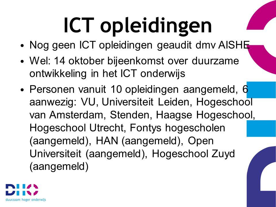 ICT opleidingen Nog geen ICT opleidingen geaudit dmv AISHE Wel: 14 oktober bijeenkomst over duurzame ontwikkeling in het ICT onderwijs Personen vanuit 10 opleidingen aangemeld, 6 aanwezig: VU, Universiteit Leiden, Hogeschool van Amsterdam, Stenden, Haagse Hogeschool, Hogeschool Utrecht, Fontys hogescholen (aangemeld), HAN (aangemeld), Open Universiteit (aangemeld), Hogeschool Zuyd (aangemeld)
