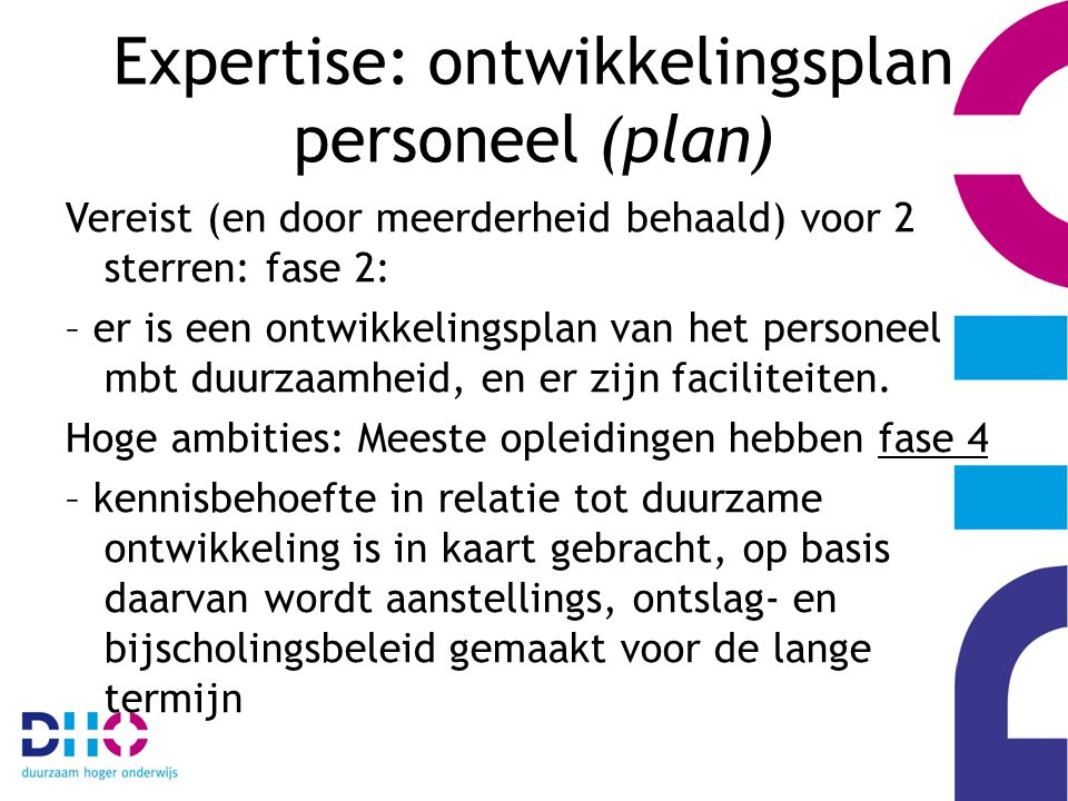 Expertise: ontwikkelingsplan personeel (plan) Vereist (en door meerderheid behaald) voor 2 sterren: fase 2: – er is een ontwikkelingsplan van het personeel mbt duurzaamheid, en er zijn faciliteiten.