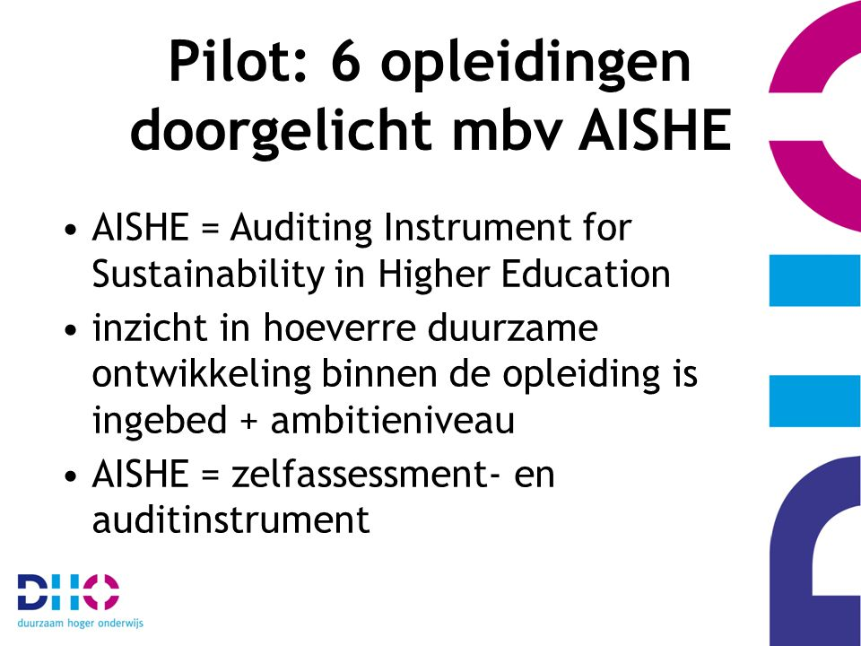 Pilot: 6 opleidingen doorgelicht mbv AISHE AISHE = Auditing Instrument for Sustainability in Higher Education inzicht in hoeverre duurzame ontwikkeling binnen de opleiding is ingebed + ambitieniveau AISHE = zelfassessment- en auditinstrument