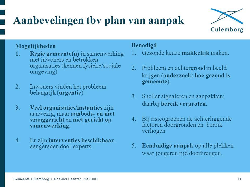 Gemeente Culemborg > Roeland Geertzen, mei-200811 Aanbevelingen tbv plan van aanpak Mogelijkheden 1.Regie gemeente(n) in samenwerking met inwoners en betrokken organisaties (kennen fysieke/sociale omgeving).