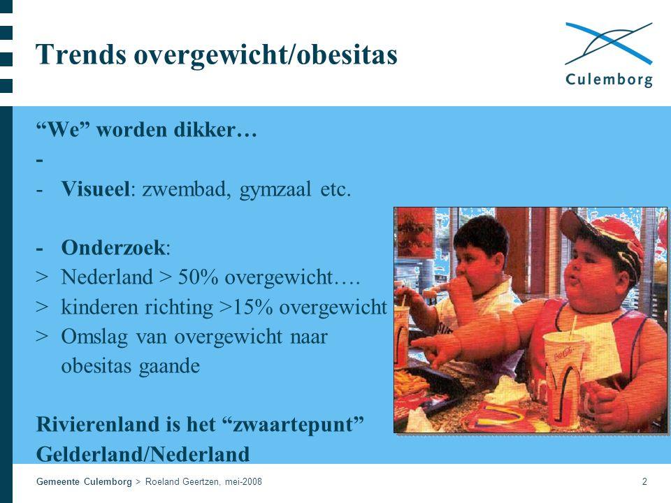 Gemeente Culemborg > Roeland Geertzen, mei-20082 Trends overgewicht/obesitas We worden dikker… - -Visueel: zwembad, gymzaal etc.