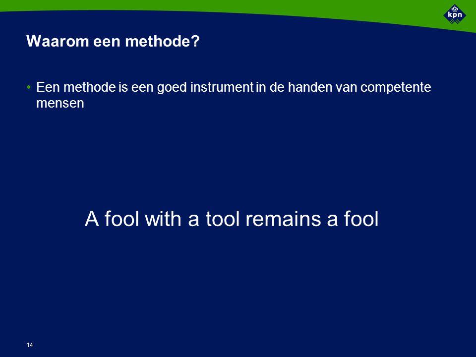 14 Waarom een methode? Een methode is een goed instrument in de handen van competente mensen A fool with a tool remains a fool