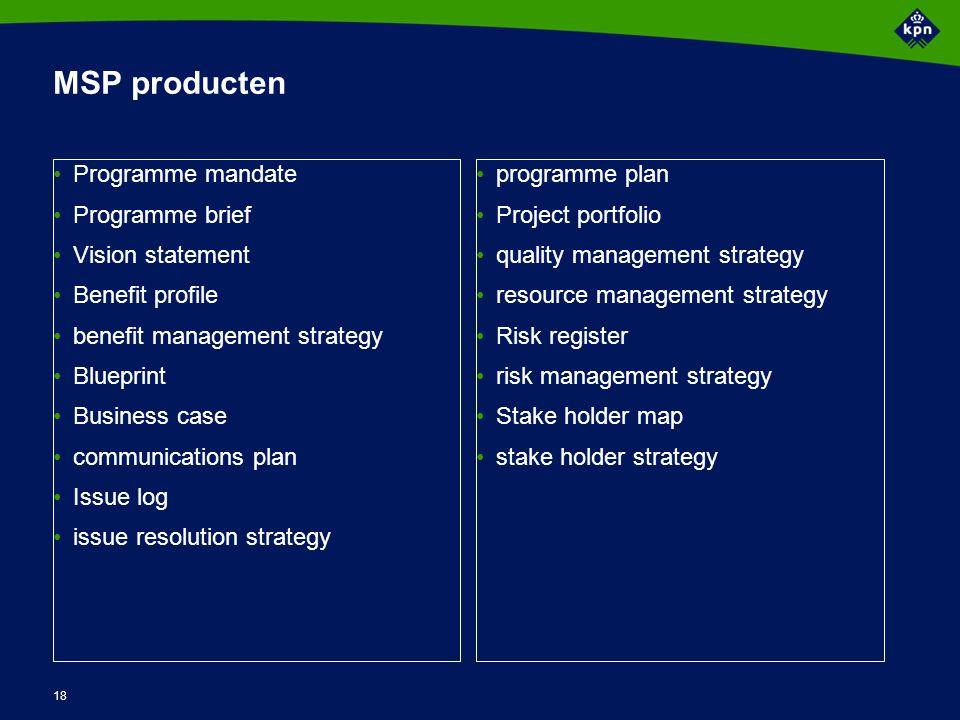 18 MSP producten Programme mandate Programme brief Vision statement Benefit profile benefit management strategy Blueprint Business case communications