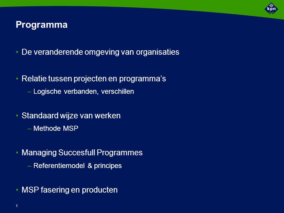 1 Programma De veranderende omgeving van organisaties Relatie tussen projecten en programma's –Logische verbanden, verschillen Standaard wijze van wer