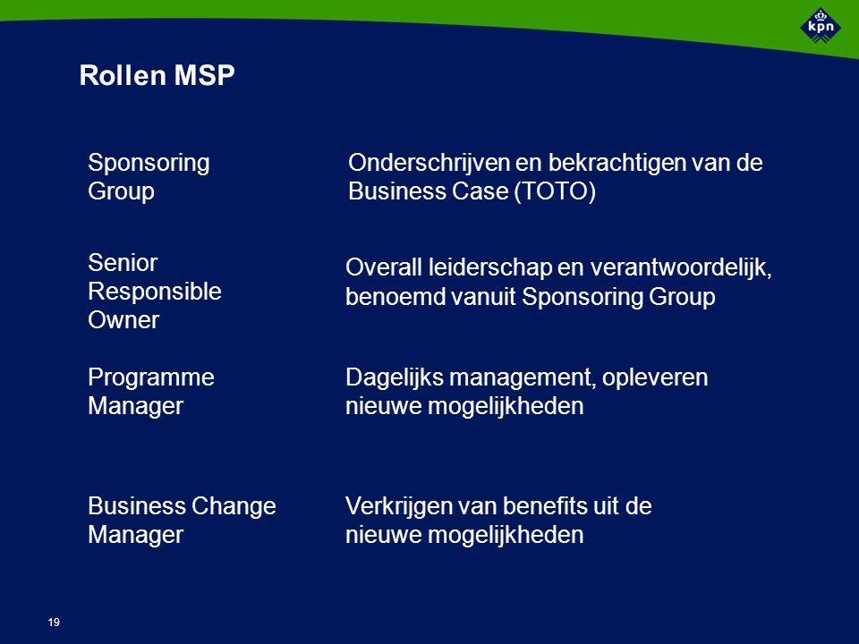 19 Rollen MSP Overall leiderschap en verantwoordelijk, benoemd vanuit Sponsoring Group Sponsoring Group Senior Responsible Owner Programme Manager Bus