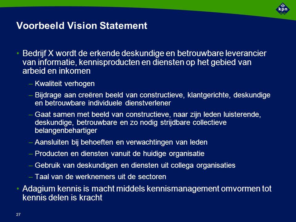 27 Voorbeeld Vision Statement Bedrijf X wordt de erkende deskundige en betrouwbare leverancier van informatie, kennisproducten en diensten op het gebi