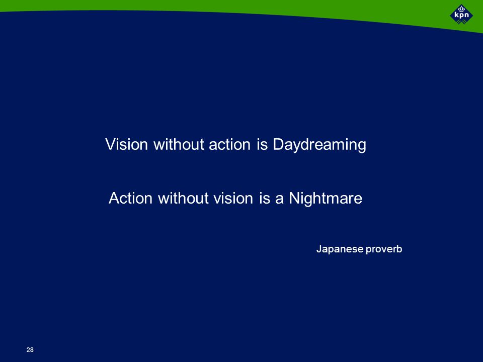 28 Vision without action is Daydreaming Action without vision is a Nightmare Japanese proverb