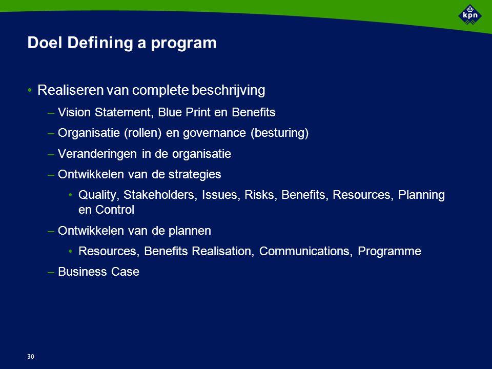 30 Doel Defining a program Realiseren van complete beschrijving –Vision Statement, Blue Print en Benefits –Organisatie (rollen) en governance (besturi