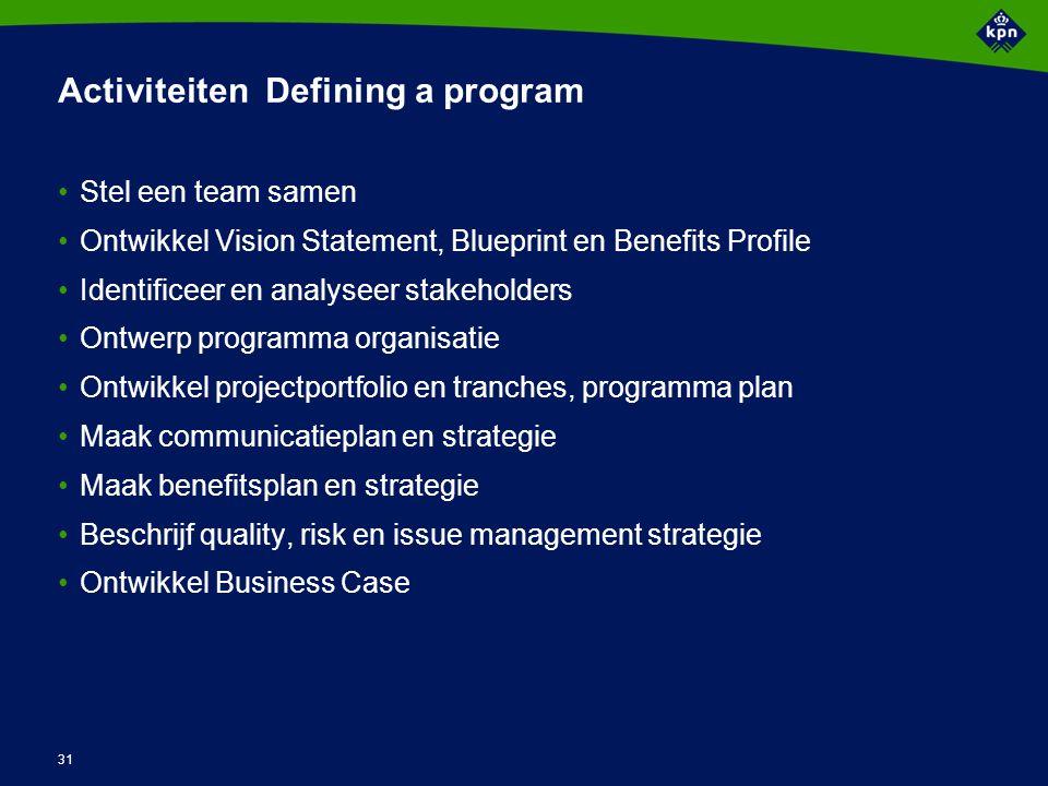 31 Activiteiten Defining a program Stel een team samen Ontwikkel Vision Statement, Blueprint en Benefits Profile Identificeer en analyseer stakeholder