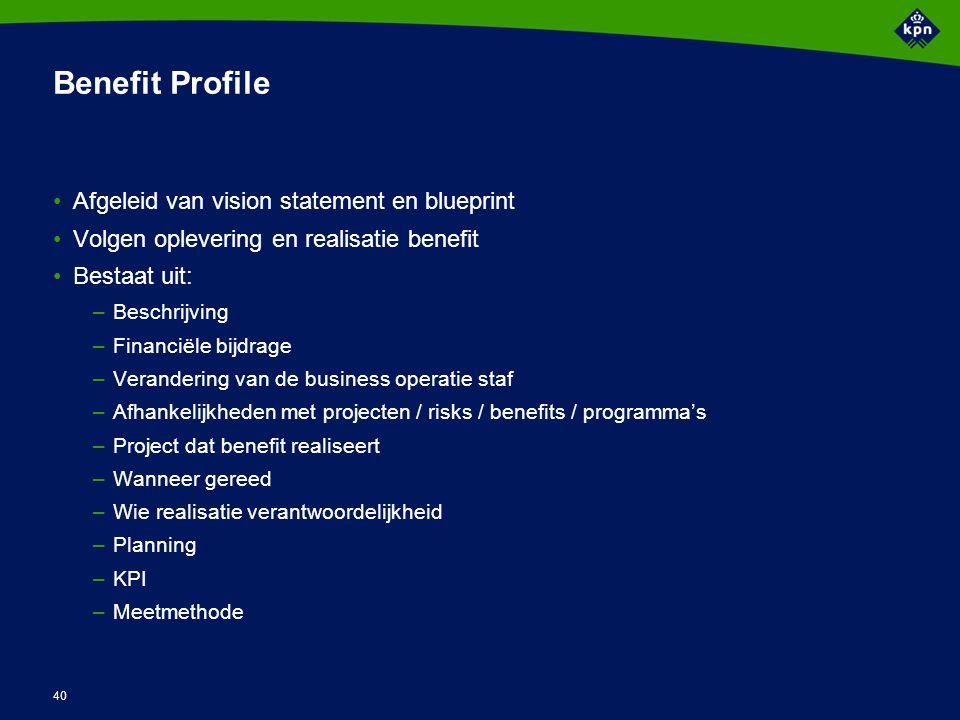 40 Benefit Profile Afgeleid van vision statement en blueprint Volgen oplevering en realisatie benefit Bestaat uit: –Beschrijving –Financiële bijdrage