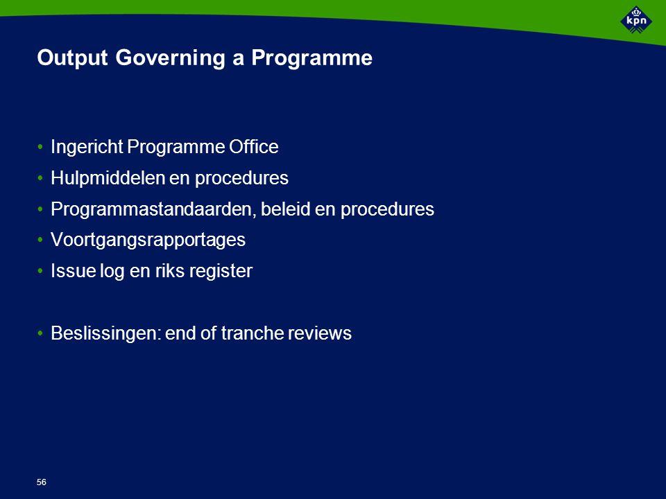 56 Output Governing a Programme Ingericht Programme Office Hulpmiddelen en procedures Programmastandaarden, beleid en procedures Voortgangsrapportages