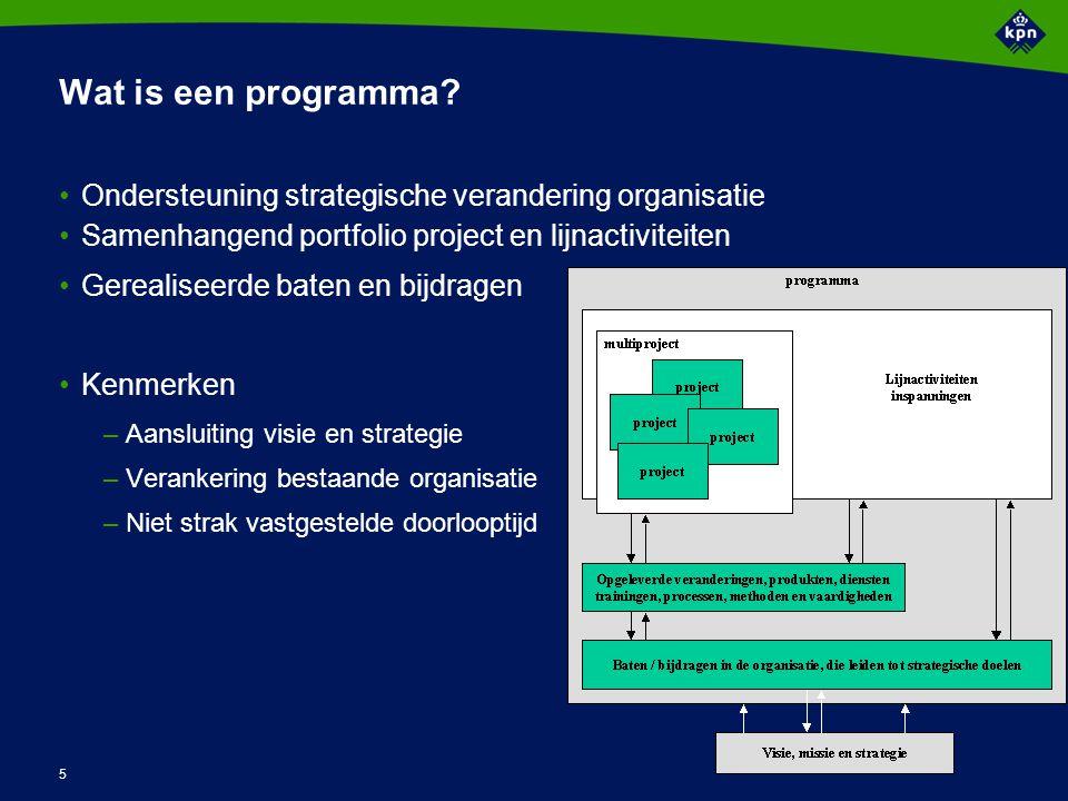 5 Wat is een programma? Ondersteuning strategische verandering organisatie Samenhangend portfolio project en lijnactiviteiten Gerealiseerde baten en b