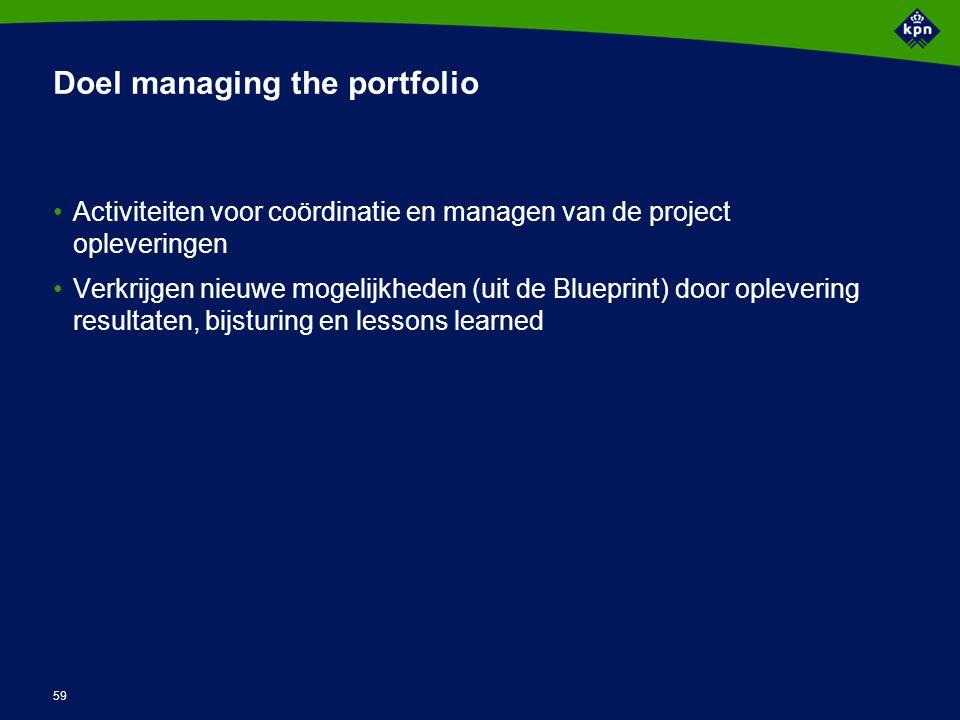 59 Doel managing the portfolio Activiteiten voor coördinatie en managen van de project opleveringen Verkrijgen nieuwe mogelijkheden (uit de Blueprint)