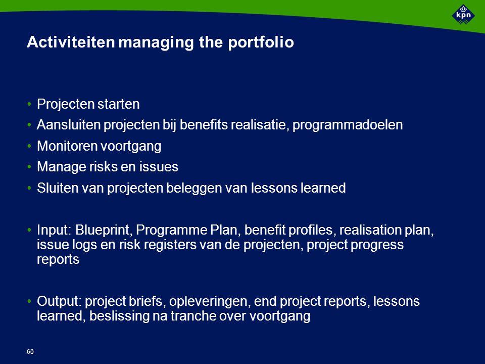 60 Activiteiten managing the portfolio Projecten starten Aansluiten projecten bij benefits realisatie, programmadoelen Monitoren voortgang Manage risk