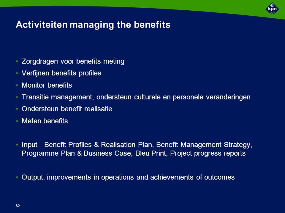 62 Activiteiten managing the benefits Zorgdragen voor benefits meting Verfijnen benefits profiles Monitor benefits Transitie management, ondersteun cu