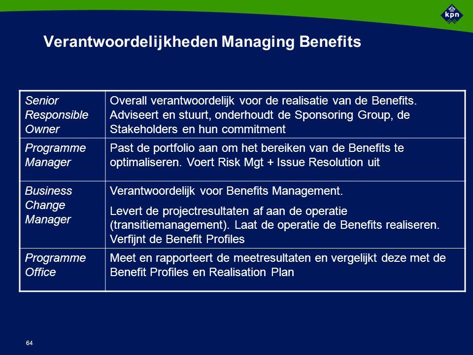 64 Verantwoordelijkheden Managing Benefits Senior Responsible Owner Overall verantwoordelijk voor de realisatie van de Benefits. Adviseert en stuurt,
