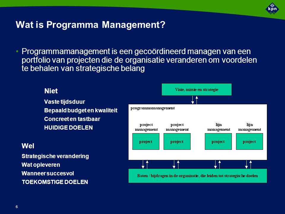 6 Wat is Programma Management? Programmamanagement is een gecoördineerd managen van een portfolio van projecten die de organisatie veranderen om voord