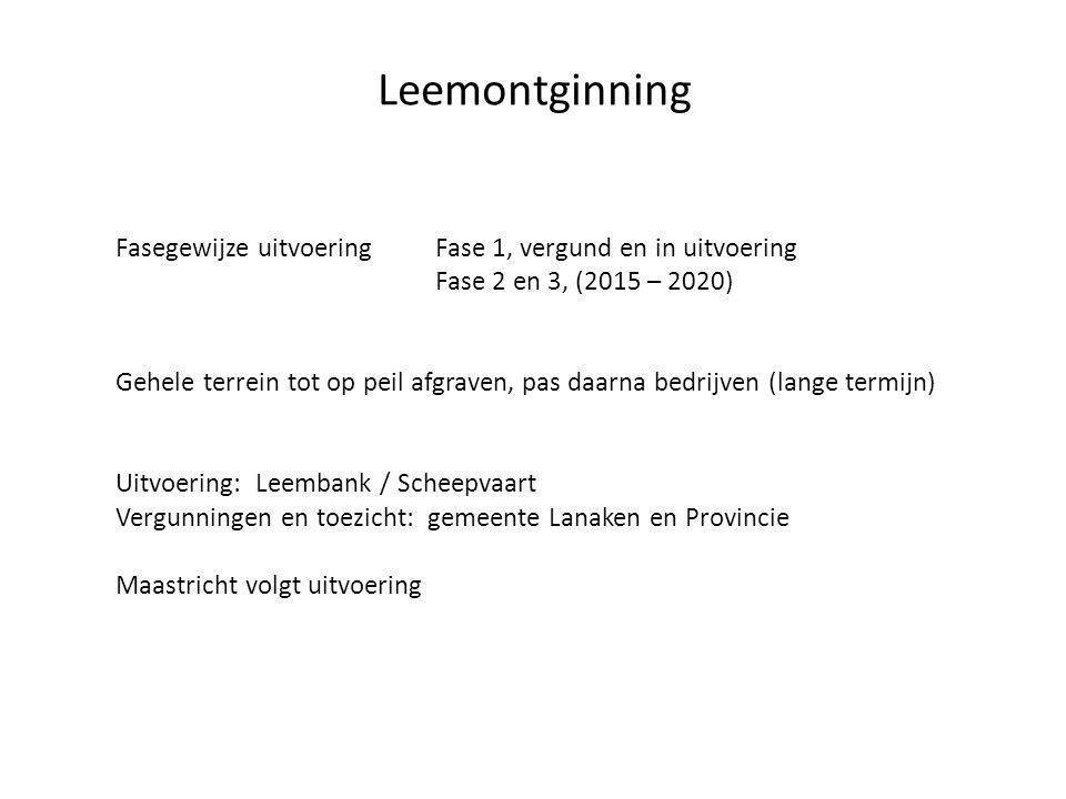 Leemontginning Fasegewijze uitvoering Fase 1, vergund en in uitvoering Fase 2 en 3, (2015 – 2020) Gehele terrein tot op peil afgraven, pas daarna bedrijven (lange termijn) Uitvoering: Leembank / Scheepvaart Vergunningen en toezicht: gemeente Lanaken en Provincie Maastricht volgt uitvoering
