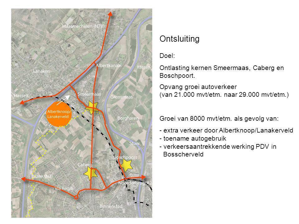 Ontsluiting Doel: Ontlasting kernen Smeermaas, Caberg en Boschpoort.