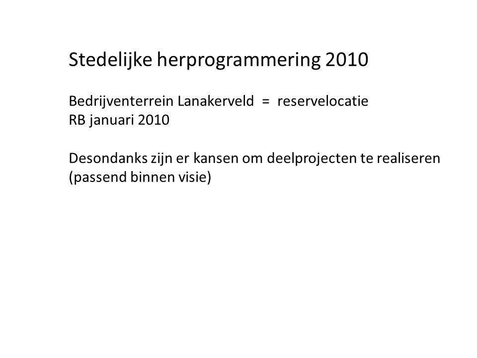 Stedelijke herprogrammering 2010 Bedrijventerrein Lanakerveld = reservelocatie RB januari 2010 Desondanks zijn er kansen om deelprojecten te realiseren (passend binnen visie)