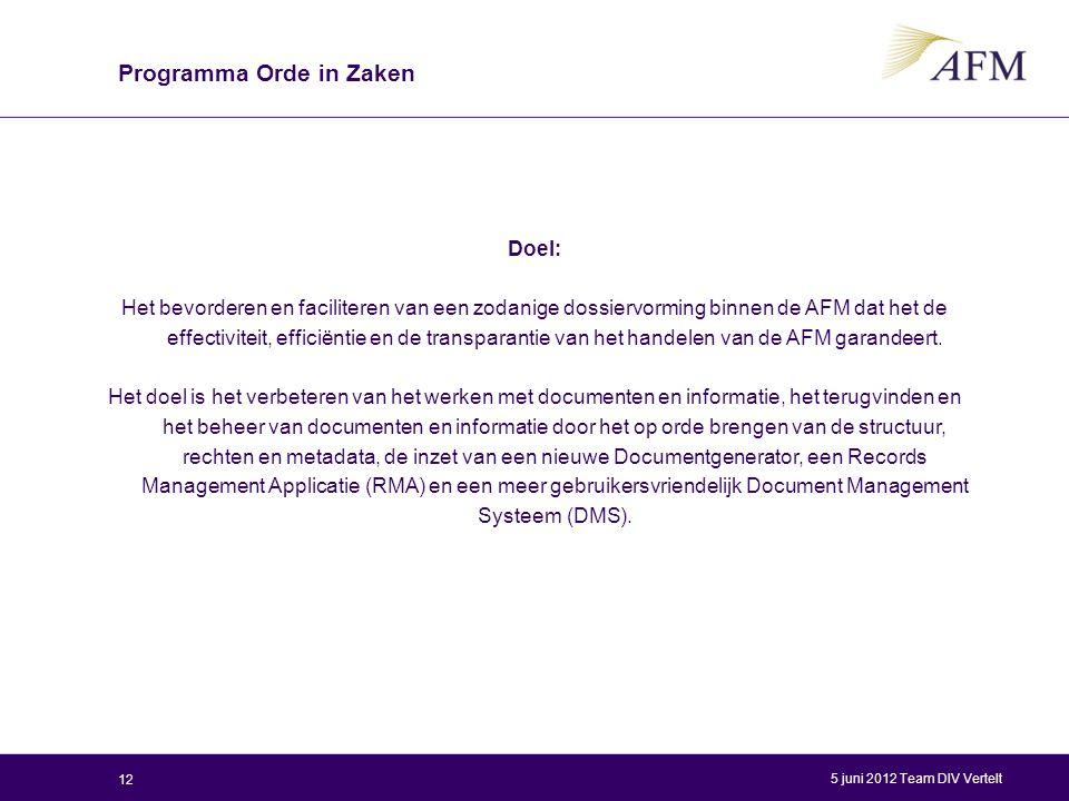 Doel: Het bevorderen en faciliteren van een zodanige dossiervorming binnen de AFM dat het de effectiviteit, efficiëntie en de transparantie van het ha