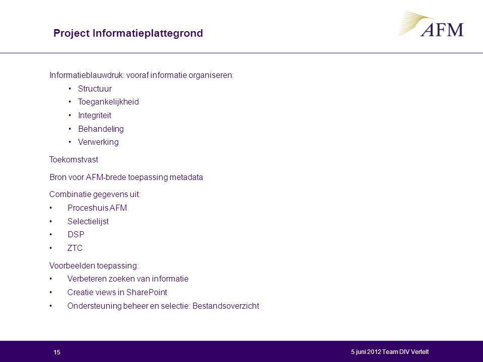 Project Informatieplattegrond Informatieblauwdruk: vooraf informatie organiseren: Structuur Toegankelijkheid Integriteit Behandeling Verwerking Toekom