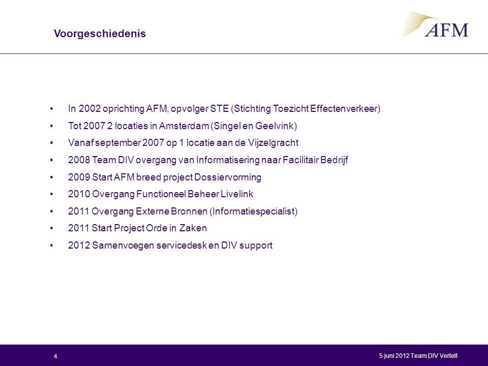 In 2002 oprichting AFM, opvolger STE (Stichting Toezicht Effectenverkeer) Tot 2007 2 locaties in Amsterdam (Singel en Geelvink) Vanaf september 2007 o