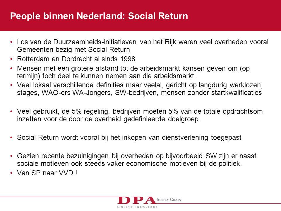 People binnen Nederland: Social Return Los van de Duurzaamheids-initiatieven van het Rijk waren veel overheden vooral Gemeenten bezig met Social Return Rotterdam en Dordrecht al sinds 1998 Mensen met een grotere afstand tot de arbeidsmarkt kansen geven om (op termijn) toch deel te kunnen nemen aan die arbeidsmarkt.