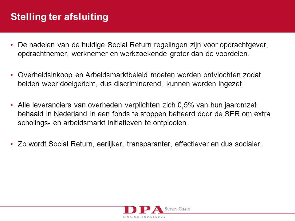 Stelling ter afsluiting De nadelen van de huidige Social Return regelingen zijn voor opdrachtgever, opdrachtnemer, werknemer en werkzoekende groter dan de voordelen.