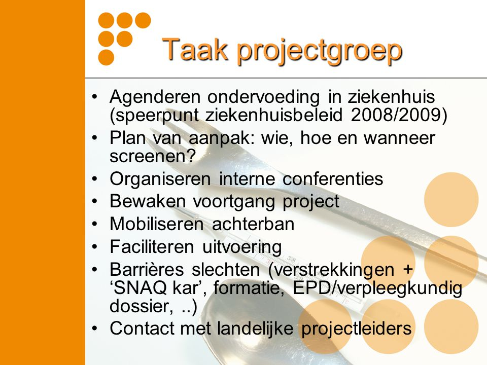 Taak projectgroep Agenderen ondervoeding in ziekenhuis (speerpunt ziekenhuisbeleid 2008/2009) Plan van aanpak: wie, hoe en wanneer screenen? Organiser