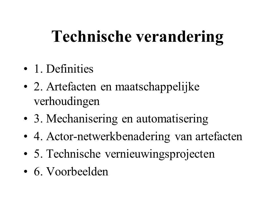 Technische verandering 1. Definities 2. Artefacten en maatschappelijke verhoudingen 3.