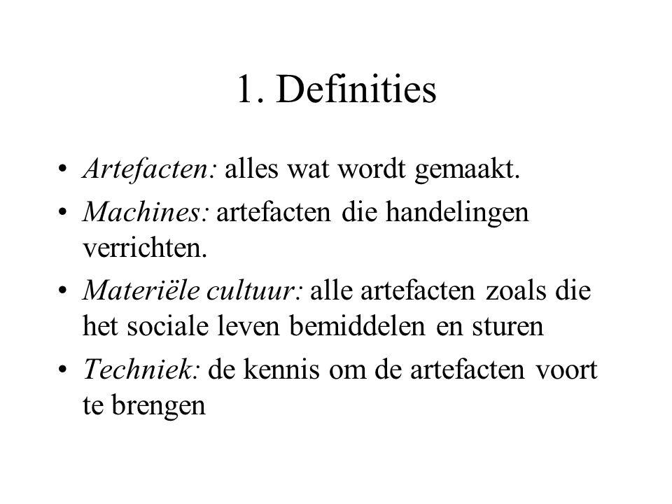 1. Definities Artefacten: alles wat wordt gemaakt.