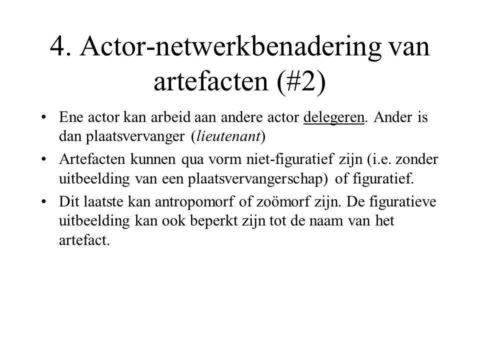 4. Actor-netwerkbenadering van artefacten (#2) Ene actor kan arbeid aan andere actor delegeren.