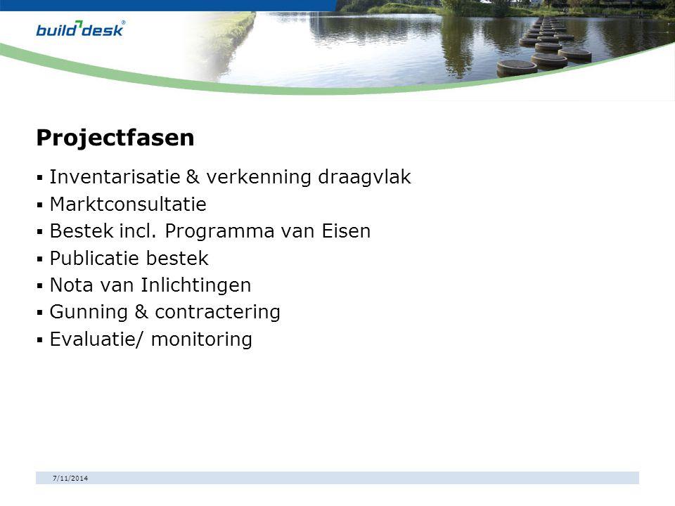 7/11/2014 Projectfasen  Inventarisatie & verkenning draagvlak  Marktconsultatie  Bestek incl. Programma van Eisen  Publicatie bestek  Nota van In