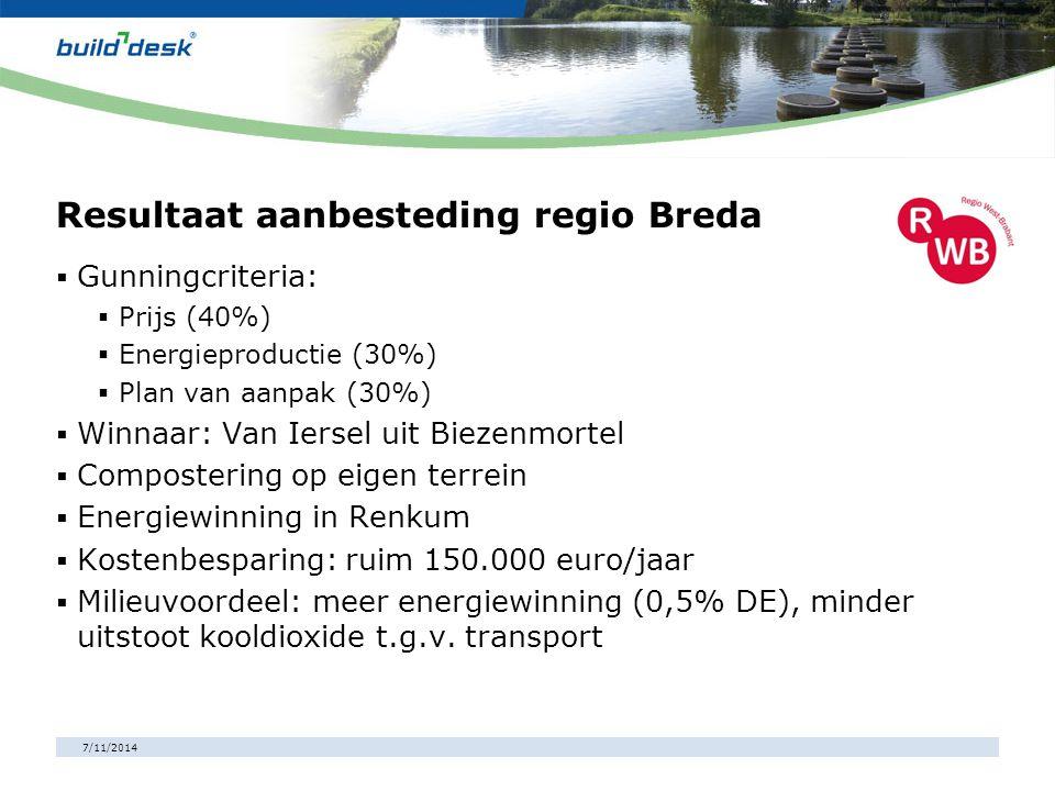7/11/2014 Resultaat aanbesteding regio Breda  Gunningcriteria:  Prijs (40%)  Energieproductie (30%)  Plan van aanpak (30%)  Winnaar: Van Iersel u