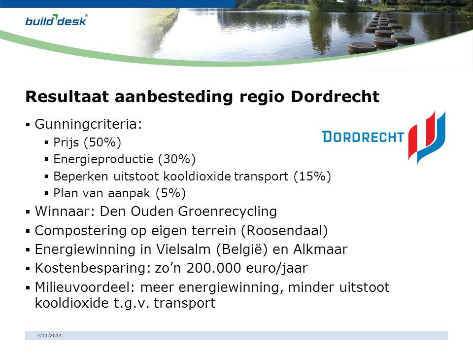7/11/2014 Resultaat aanbesteding regio Dordrecht  Gunningcriteria:  Prijs (50%)  Energieproductie (30%)  Beperken uitstoot kooldioxide transport (
