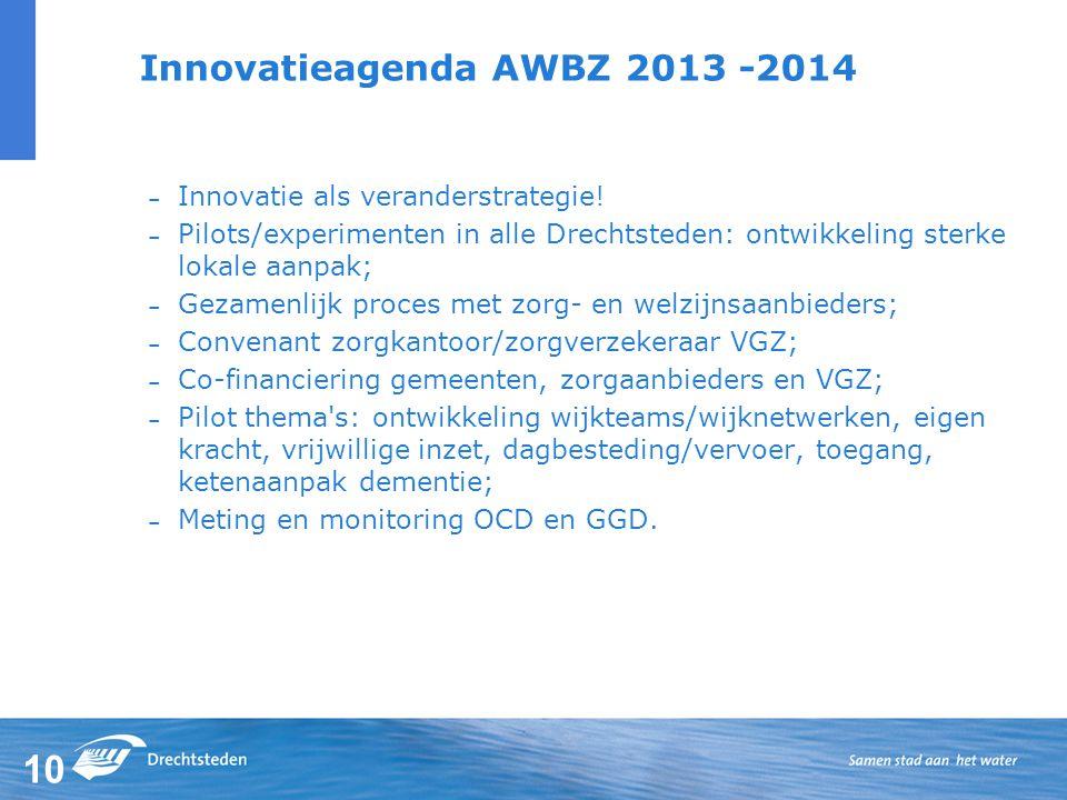 10 Innovatieagenda AWBZ 2013 -2014 – Innovatie als veranderstrategie.