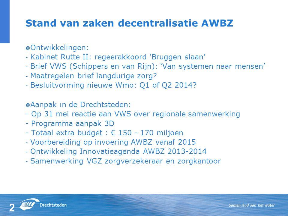 2 Stand van zaken decentralisatie AWBZ  Ontwikkelingen: - Kabinet Rutte II: regeerakkoord 'Bruggen slaan' - Brief VWS (Schippers en van Rijn): 'Van systemen naar mensen' - Maatregelen brief langdurige zorg.