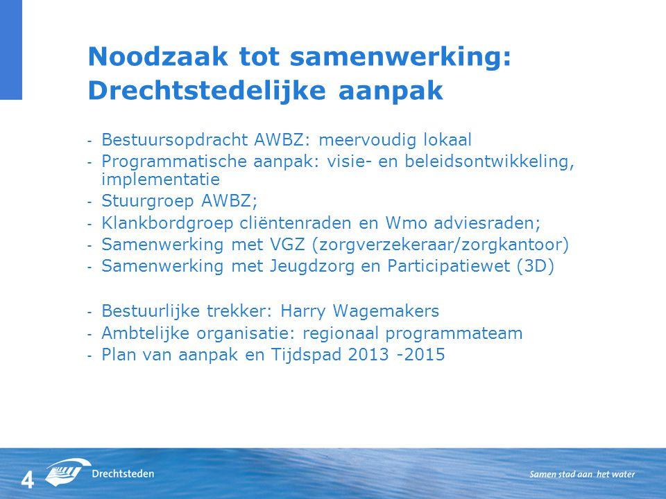 4 Noodzaak tot samenwerking: Drechtstedelijke aanpak - Bestuursopdracht AWBZ: meervoudig lokaal - Programmatische aanpak: visie- en beleidsontwikkeling, implementatie - Stuurgroep AWBZ; - Klankbordgroep cliëntenraden en Wmo adviesraden; - Samenwerking met VGZ (zorgverzekeraar/zorgkantoor) - Samenwerking met Jeugdzorg en Participatiewet (3D) - Bestuurlijke trekker: Harry Wagemakers - Ambtelijke organisatie: regionaal programmateam - Plan van aanpak en Tijdspad 2013 -2015