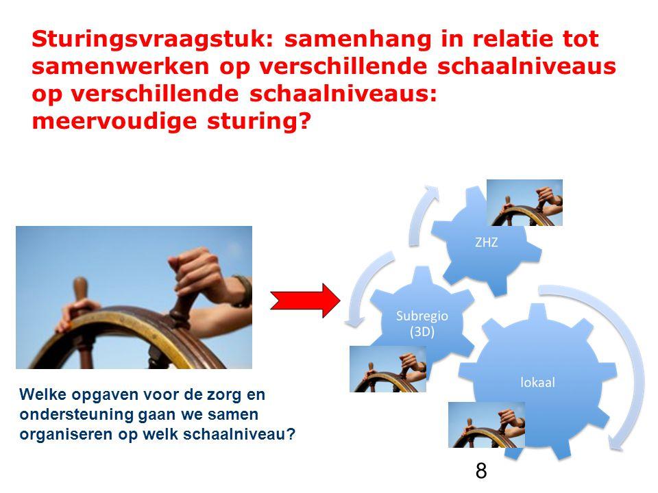 Sturingsvraagstuk: samenhang in relatie tot samenwerken op verschillende schaalniveaus op verschillende schaalniveaus: meervoudige sturing.
