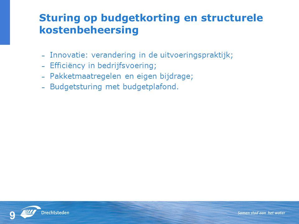 9 Sturing op budgetkorting en structurele kostenbeheersing – Innovatie: verandering in de uitvoeringspraktijk; – Efficiëncy in bedrijfsvoering; – Pakketmaatregelen en eigen bijdrage; – Budgetsturing met budgetplafond.