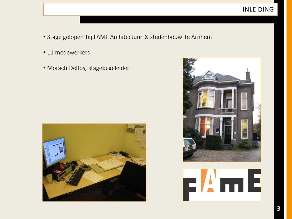 3 INLEIDING Stage gelopen bij FAME Architectuur & stedenbouw te Arnhem 11 medewerkers Morach Delfos, stagebegeleider