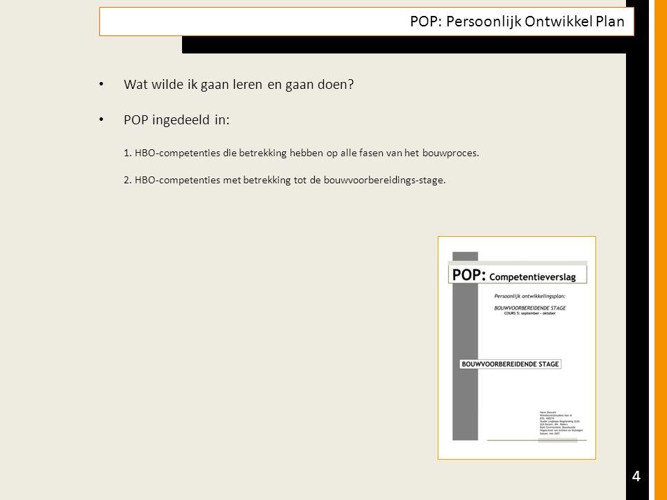 4 POP: Persoonlijk Ontwikkel Plan Wat wilde ik gaan leren en gaan doen.