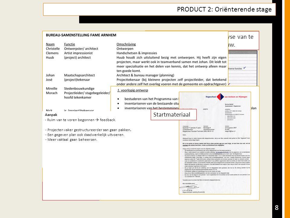 8 PRODUCT 2: Oriënterende stage Opdracht Product & Doel Aanpak (Tussen)producten Resultaatsbeschrijving & Reflectie Leerdoelen - 1 a 2 eerstejaars komen een dag met mij meelopen.