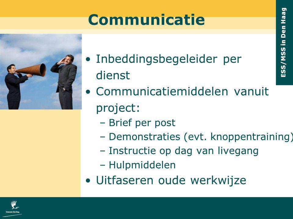 ESS/MSS in Den Haag Communicatie Inbeddingsbegeleider per dienst Communicatiemiddelen vanuit project: –Brief per post –Demonstraties (evt. knoppentrai