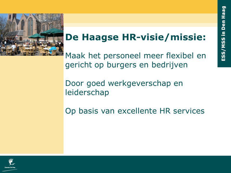 ESS/MSS in Den Haag HR-cyclus: Ambitie voor Den Haag Doel: goed personeel klantgericht & duurzaam inzetbaar Pijler 1: goed werkgever- schap Arbeidsvoor- waarden; arbeidsmarkt- beleid; diversiteitsbeleid Pijler 2: goed leiderschap Managers toerusten om inspirerend & motiverend leiding te geven Fundament: goede bedrijfsvoering in de P-functie: strategisch & effici ë nt