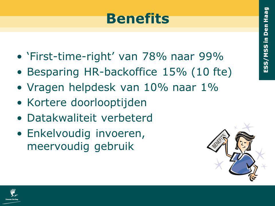 ESS/MSS in Den Haag Benefits 'First-time-right' van 78% naar 99% Besparing HR-backoffice 15% (10 fte) Vragen helpdesk van 10% naar 1% Kortere doorloop