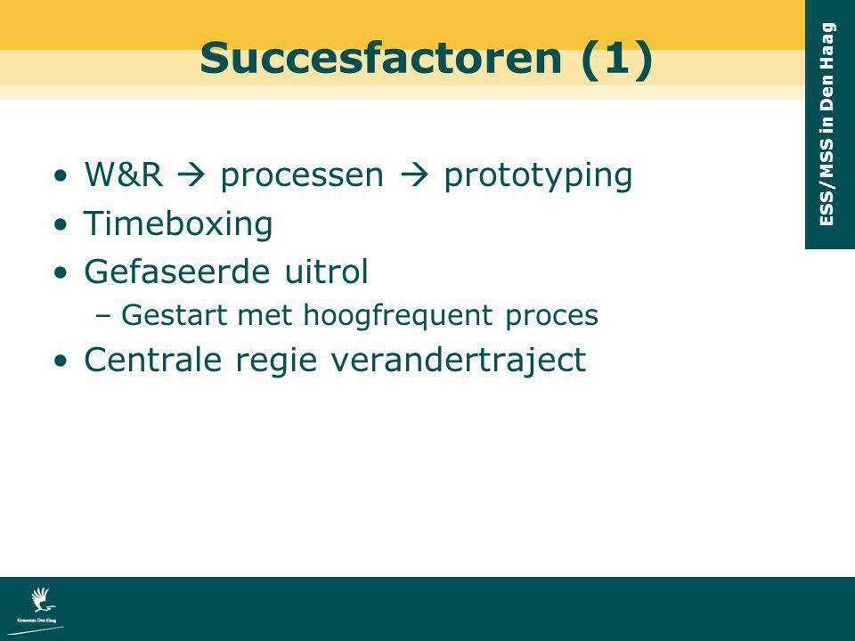 ESS/MSS in Den Haag Succesfactoren (1) W&R  processen  prototyping Timeboxing Gefaseerde uitrol –Gestart met hoogfrequent proces Centrale regie vera