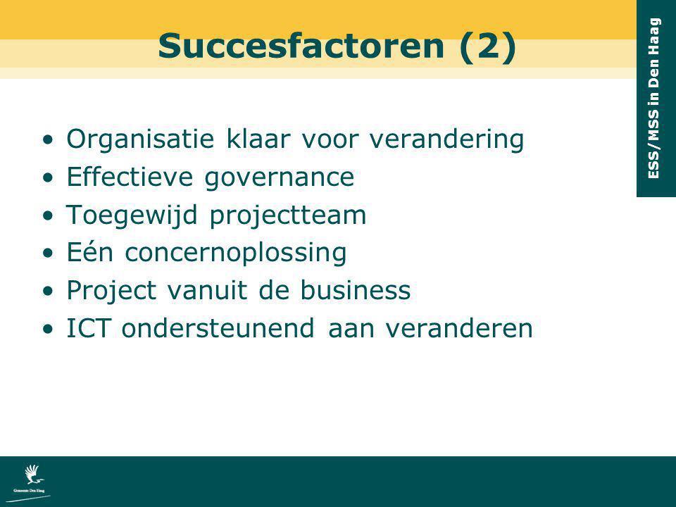 ESS/MSS in Den Haag Succesfactoren (2) Organisatie klaar voor verandering Effectieve governance Toegewijd projectteam Eén concernoplossing Project van